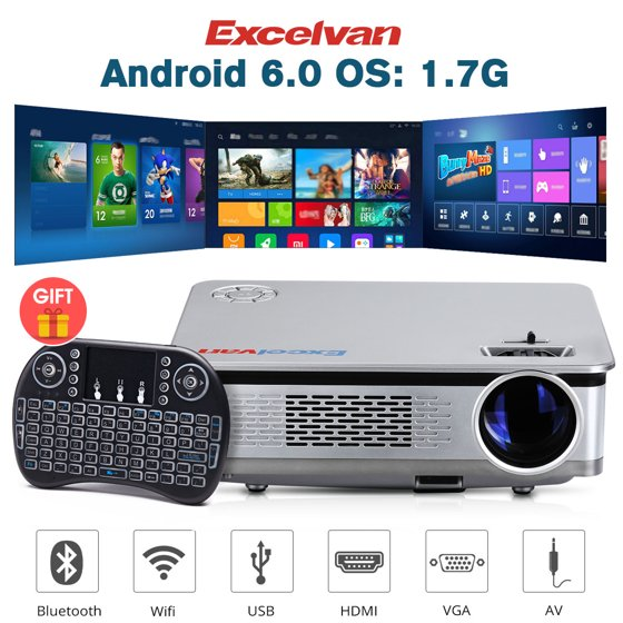 """Excelvan HT60 Home Projector Android 6 0 1080P 5 8"""" LCD 3200lm LED Lamp for  Home Cinema Theater Video Games WIFI BT Multimedia"""