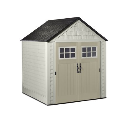 Rubbermaid 7 x 7 ft Large Vertical Storage Shed, Sandstone &