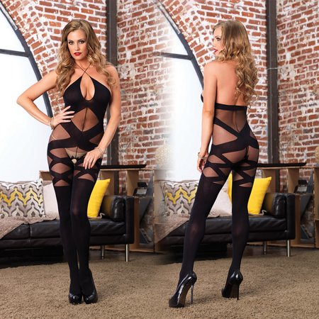 Leg Avenue Opaque & Sheer Illusion Bodystocking with Keyhole Halter Detail - One - Plus Size Bodystocking