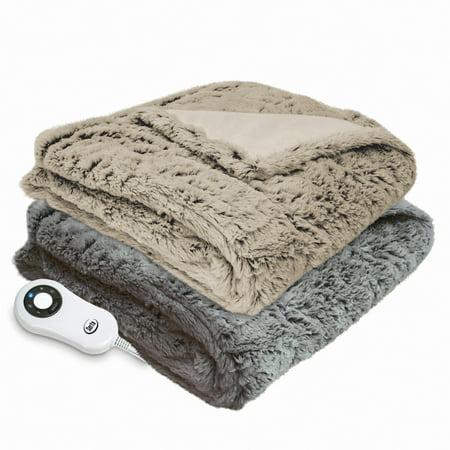 Serta Reversible Faux Fur Plush Electric Heated Throw ()
