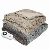 Serta Reversible Faux Fur Plush Electric Heated Throw