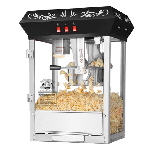 Superior Popcorn Black Countertop Movie Night Popcorn Popper Machine, 8 Ounce