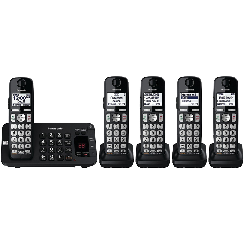 Panasonic KX-TGE445B 5-Handset Expandable Cordless Phone System With Enhanced Noise Reduction