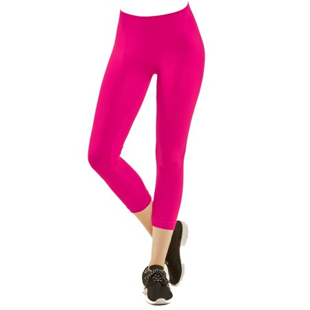 Nylon Spandex Seamless Womens Capri Leggings, Hot Pink (80s Spandex Leggings)