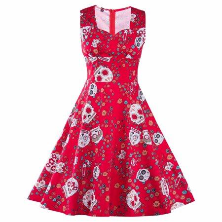 Women Audrey Hepburn 50s 60s Vintage Floral Print Retro Rockabilly RED Dress