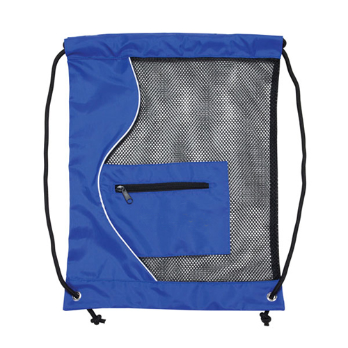 MESH DRAWSTRING BACKPACK BLUE