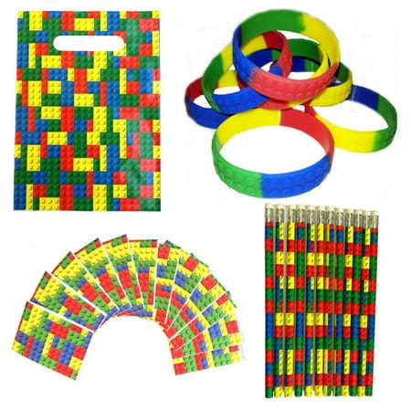 MinifigFans 48 Building Blocks Birthday Party Favors Bundle Kit Pack for 12 Kids Blue Birthday Block