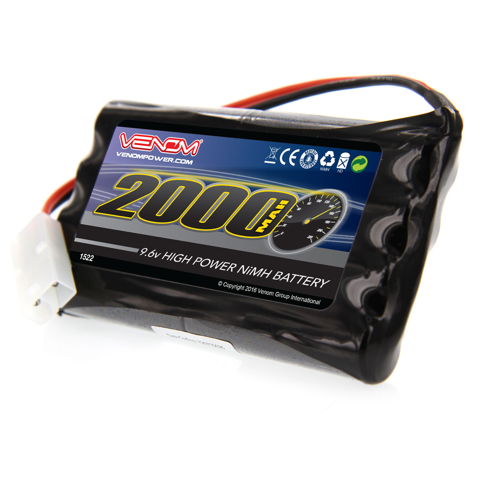 Venom 9.6V 2000mAh 8-Cell NiMH Battery for Nikko, Megatech, New Bright, Maisto, Maya, Jada, and other 9.6V Toy RC Cars