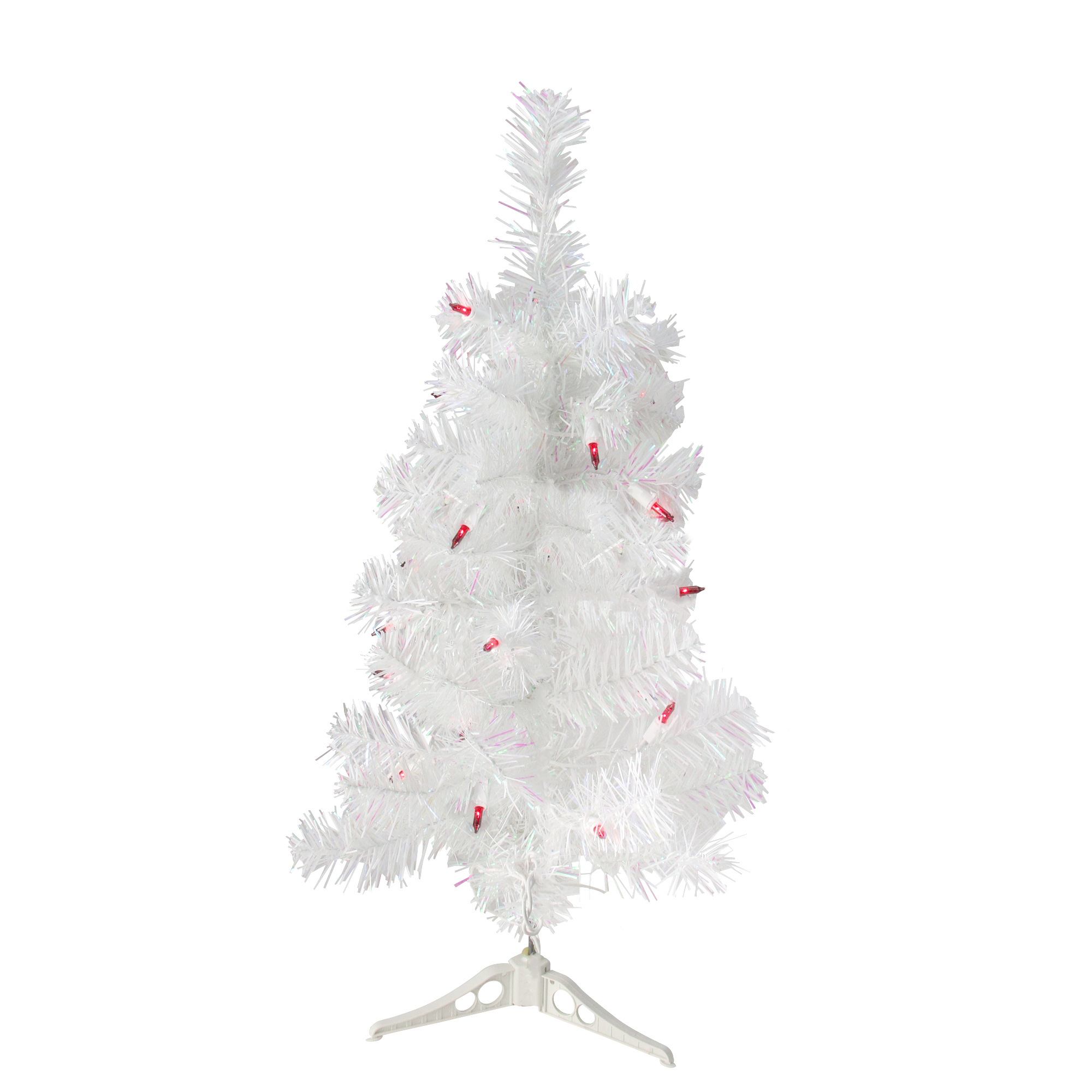 2\' Pre-Lit White Pine Slim Artificial Christmas Tree - Red Lights