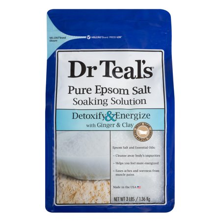 Dr Teal's Pure Epsom Salt Soaking Solution, Detoxify & Energize with Ginger & Clay, 3 lb
