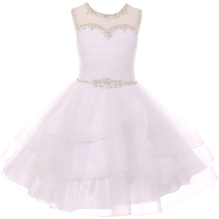 Little Girl Gorgeous Beaded Rhinestones First Communion Flower Girl Dress White 4 CC 5050 BNY Corner - Gorgeous Flower Girl Dresses