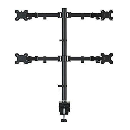 Lcd Arm Extension Grommet Desk - wali quad lcd monitor desk mount stand fully adjustable fits four screens up to 27, full motion, 22 lbs per arm capacity, c-clamp base and optional grommet base (wl-m004)