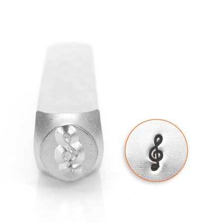 Music Stamp Series - ImpressArt Metal Punch Stamp, Music Treble Clef 6mm (1/4 Inch), 1 Piece, Steel