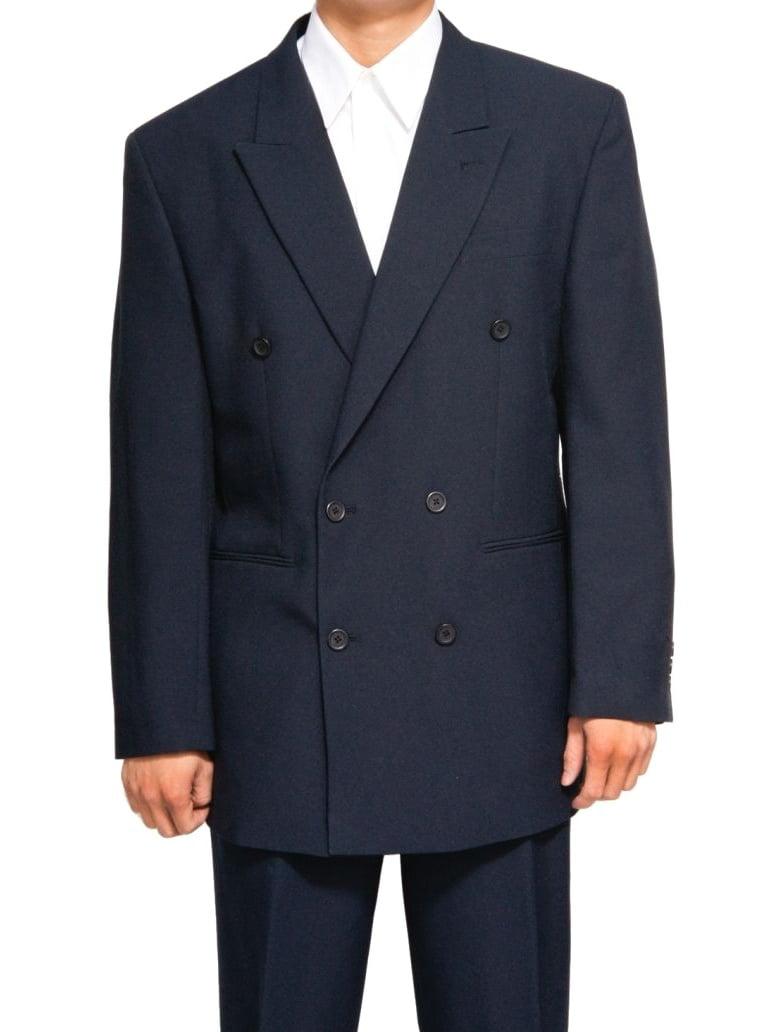 Mens Navy Blue Dress Suit Includes Jacket & Pants by New Era Factory Outlet, Inc.