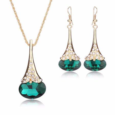 Copper Crystal Earrings - Moochi 18K Gold Plated Copper Waterdrop Shape Crystal Pendent Necklace Earrings Jewelry Set