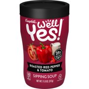 (4 pack) Campbell's Well Yes! Sipping Soup, Vegetable Soup On The Go, Roasted Red Pepper & Tomato, 11.1 Oz Cup