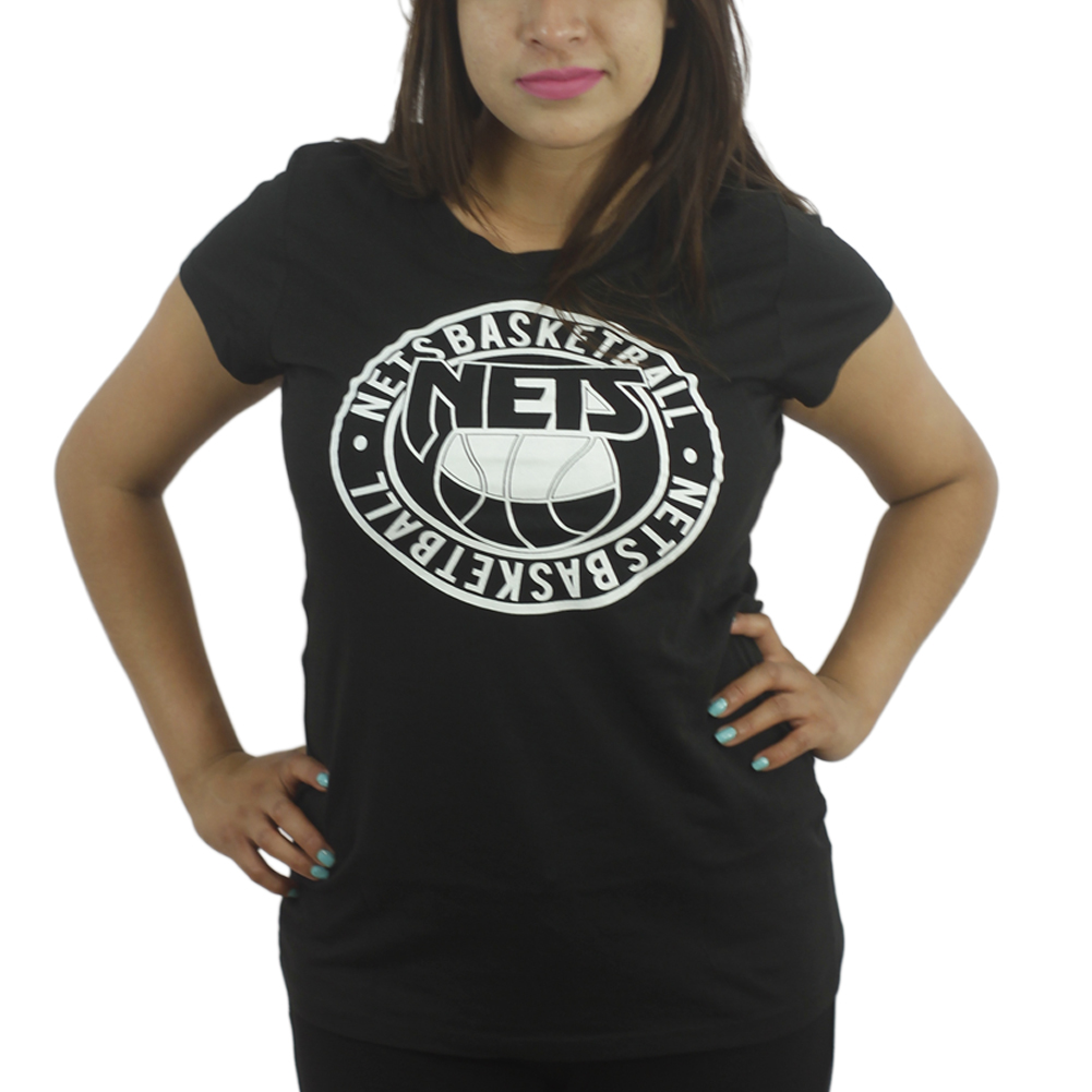 Brooklyn Nets Basketball Logo Graphic Front Printed Men's Casual T-shirt, Black
