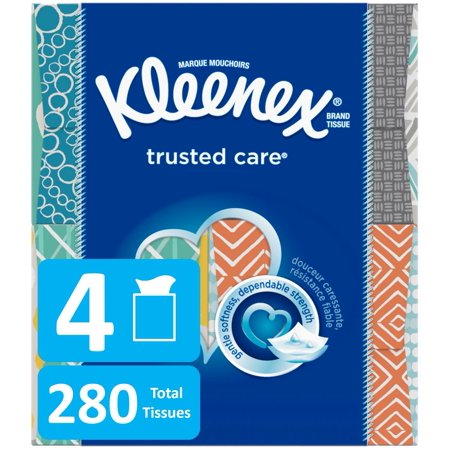 Kleenex Trusted Care Everyday Facial Tissues, Cube Box, 70 Tissues per Box, 4 Pack (280 Tissues (Kleenex Splash N Go Moist Wipes Package)