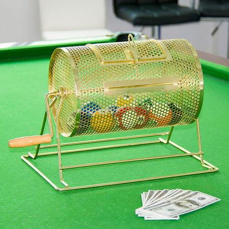 Yaheetech 11X8 Raffle Ticket Drum Brass Plated Casino Spinning Bingo Drum