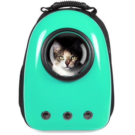 Best Choice Products Pet Carrier Space Capsule Backpack, Bubble Window Lightweight Padded Traveler for Cats, Dogs, Small Animals w/ Breathable Air Holes - Teal