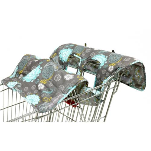 The Peanut Shell Reversible Cart Cover in Grey Medallion Print