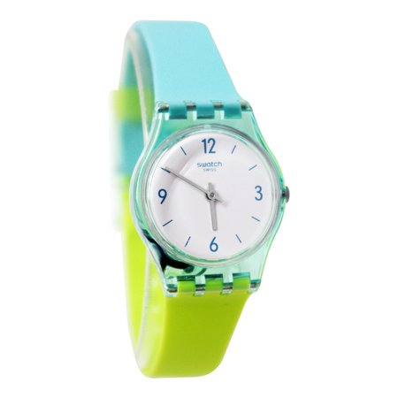 Swatch LL122 Mentalo White Dial Transparent Case Blue Green Silicone Band