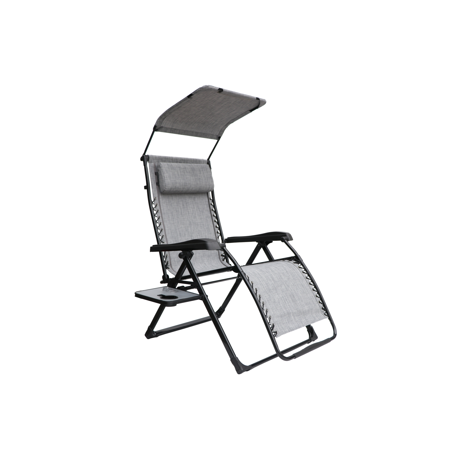 Ordinaire Mainstays Extra Large Zero Gravity Chair With Side Table And Canopy, Gray    Walmart.com