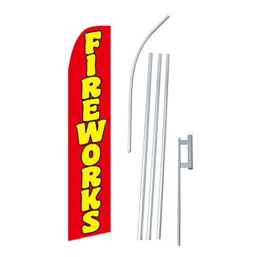 NeoPlex Fireworks Swooper Flag and Flagpole Set