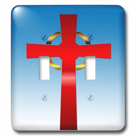 3dRose Scarlet and gold celtic cross on a blue gradient background - Double Toggle Switch (lsp_26787_2) (Scarlet Cross)