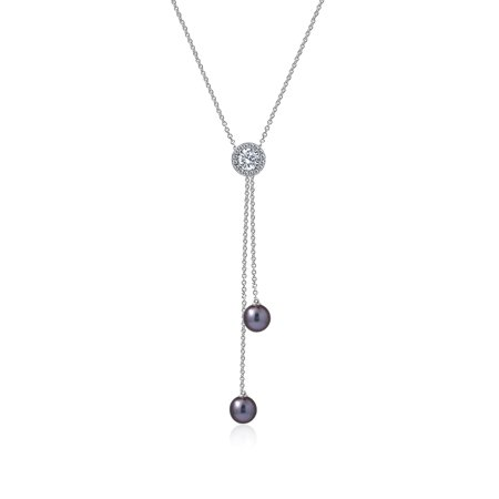 Gemour Platinum Plated Sterling Silver Swarovski Zirconia Tahitian Cultured Pearl Double Dangling Pendant Y-Shaped Necklace, 18