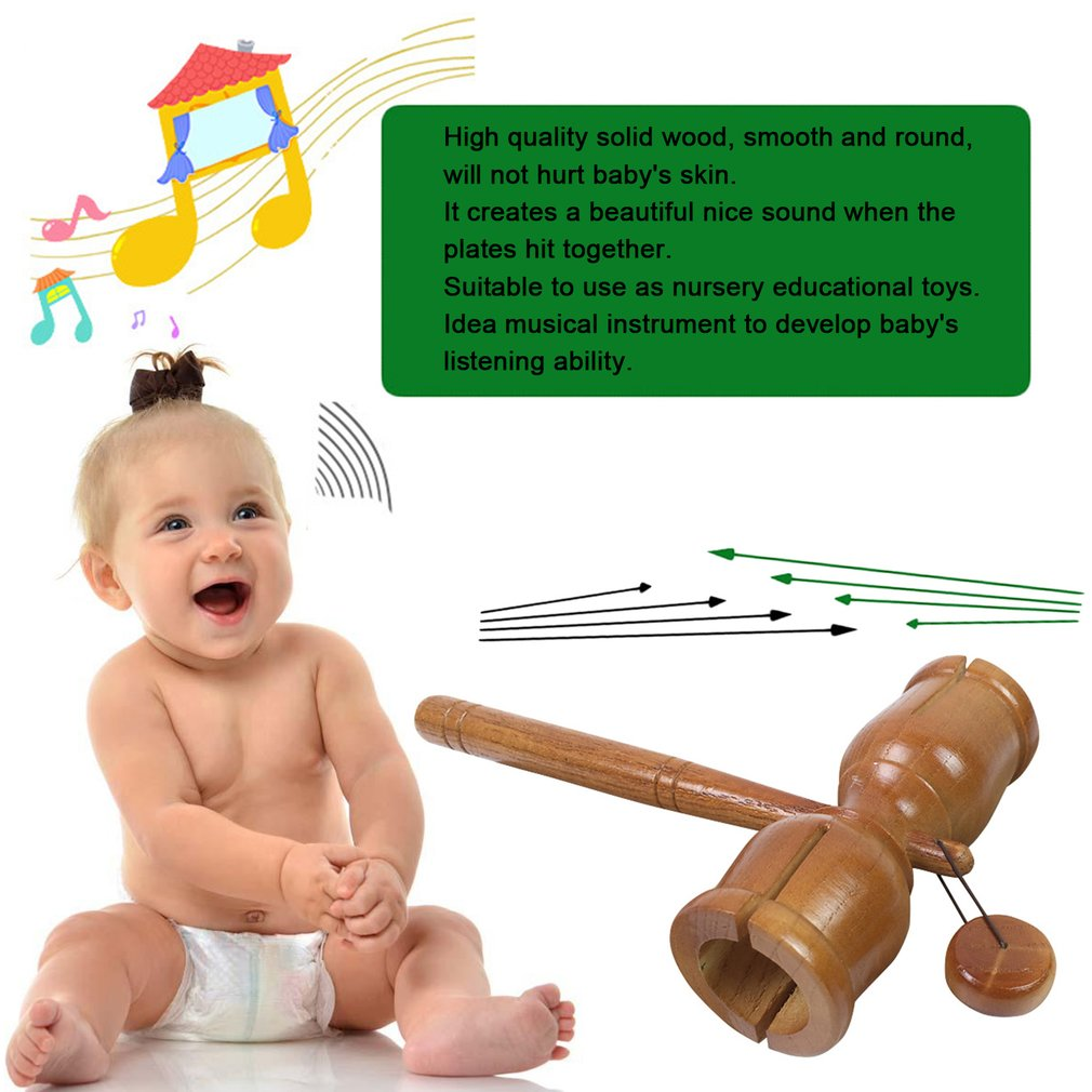G10-0A Solid Wood Musical Instrument Nice Sound Hands Shaking Toys