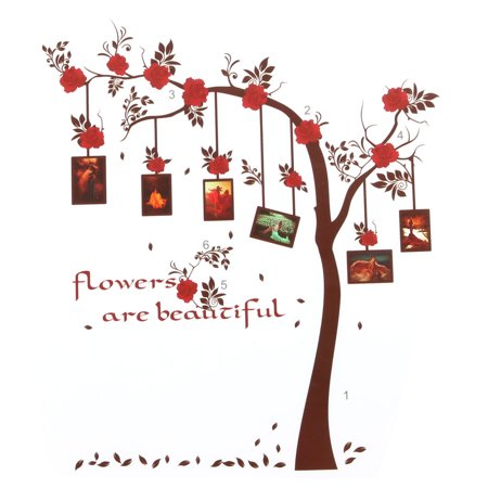 Family PVC Flower Pattern Self-Adhesive Photos Wall Sticker Red Brown 90 x 60cm - image 5 of 5