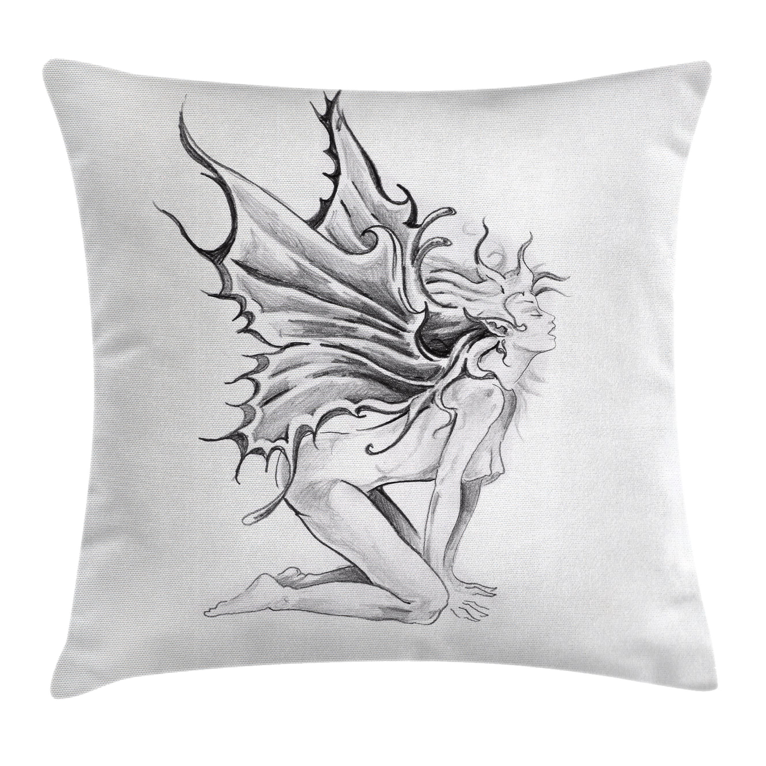 Tattoo decor throw pillow cushion cover artistic pencil drawing art print nude fairy opening its angel wings decorative square accent pillow case