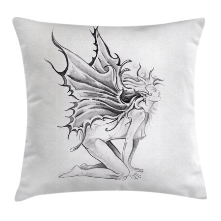 Tattoo Decor Throw Pillow Cushion Cover, Artistic Pencil Drawing Art Print Nude Fairy Opening its Angel Wings, Decorative Square Accent Pillow Case, 20 X 20 Inches, Black and White, by Ambesonne