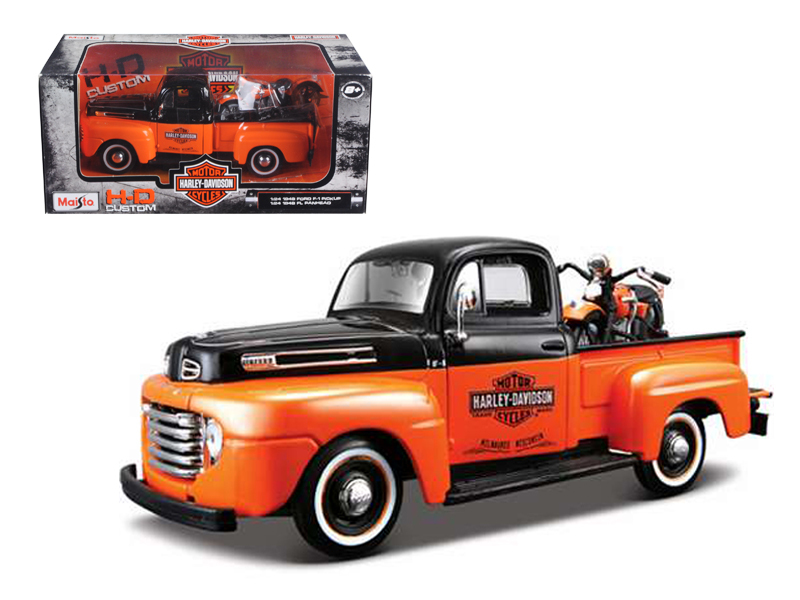 1948 Ford F-1 Pickup Truck Harley Davidson With 1948 FL Panhead Motorcycle Orange Black 1... by Maisto