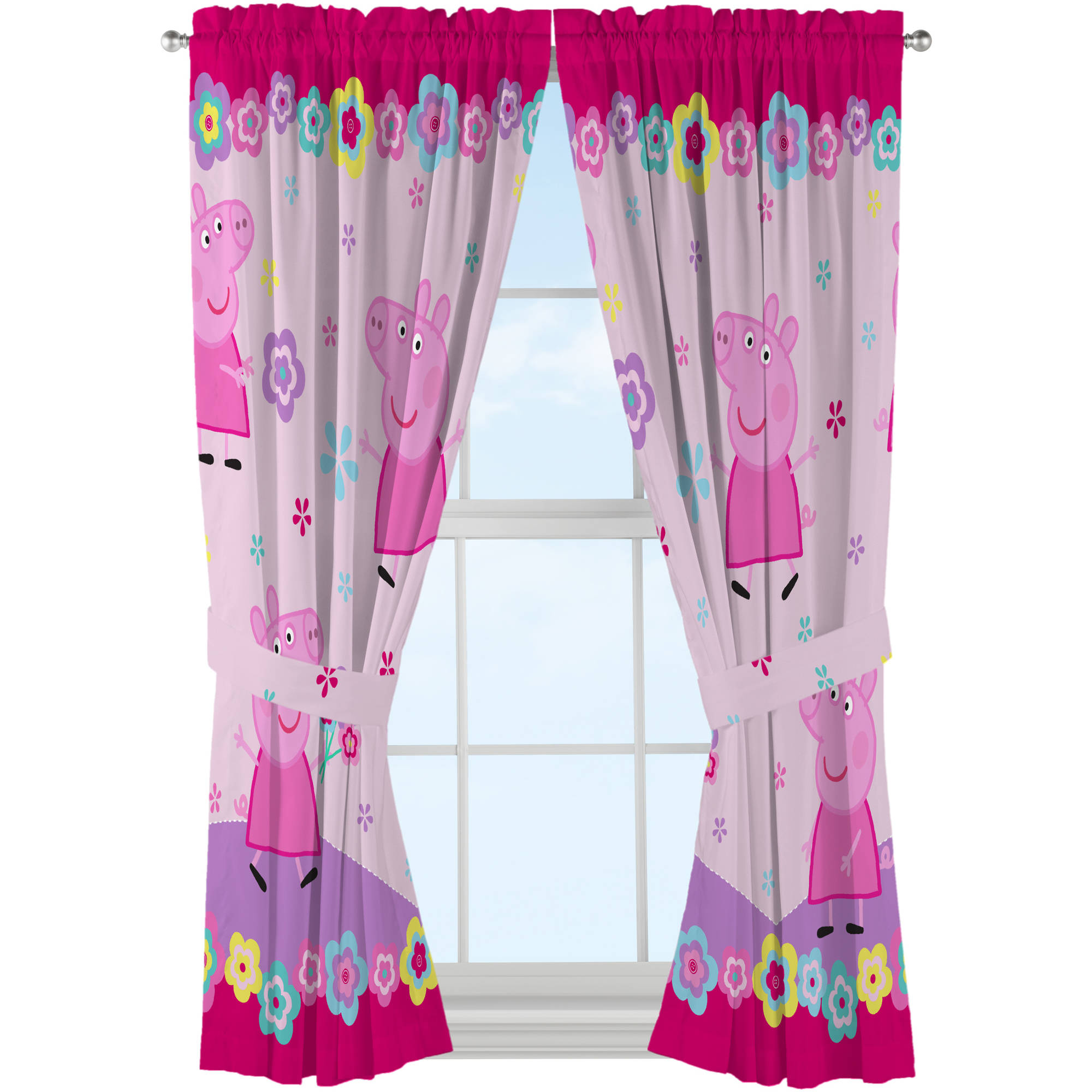 Peppa Pig 'Peppa's Flower Patch' Curtain Panel, Set of 2