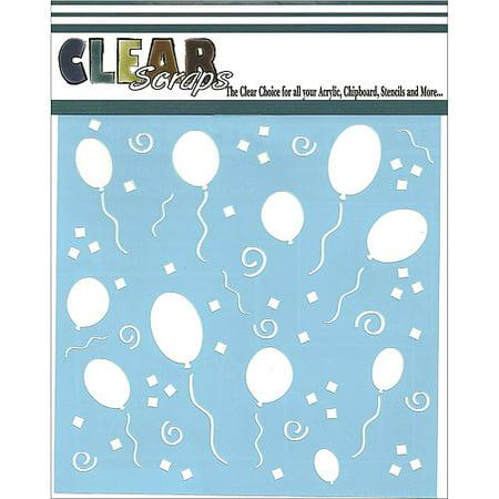 Clear Scraps CSSM6-PARTY Translucent Plastic Film Stencil, Party, 6-Inch x 6-Inch Multi-Colored