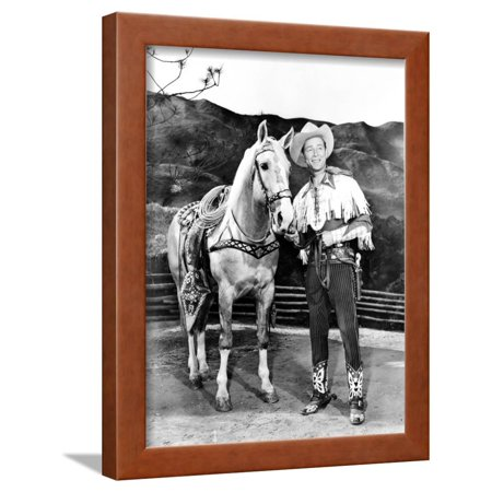 Roy Rogers posed with Horse in Cowboy Outfit Framed Print Wall Art By Movie Star News