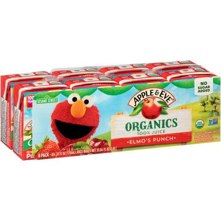 Apple & Eve® Organics Elmo's Punch 100% Juice 8-4.23 fl. oz. Cartons 100% Pure Organic Peach