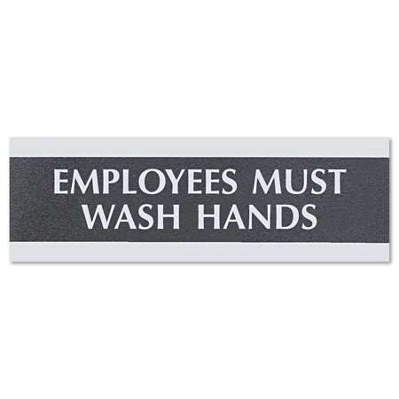 Headline Sign Century Series Office Sign, Employees Must Wash Hands, 9 x 3 -