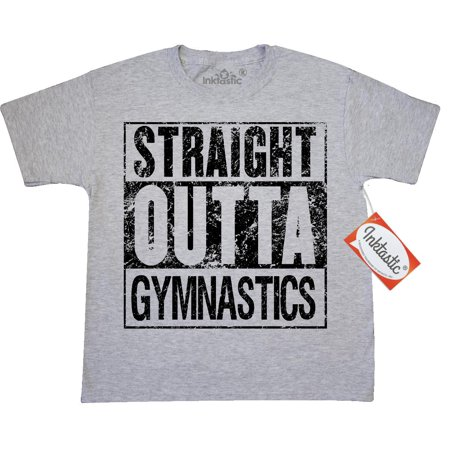 Inktastic Straight Outta Gymnastics Youth T-Shirt School Activities Training Parody Practice Cartwheels Gym Balance Beam After Joke Humor Funny Tee Kids Children Child Tween Clothing Apparel Teen
