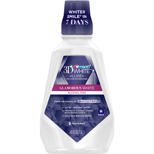 Crest 3D White Luxe Glamorous White Multi-Care Whitening Fresh Mint Flavor Mouthwash, 48 fl oz