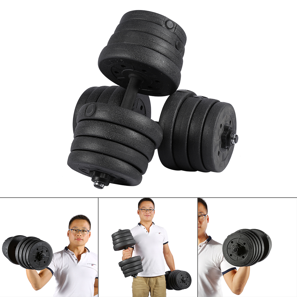Details about  /Solid Weight Dumbbell Set Adjustable Gym Barbell Plates Body PRO Workout