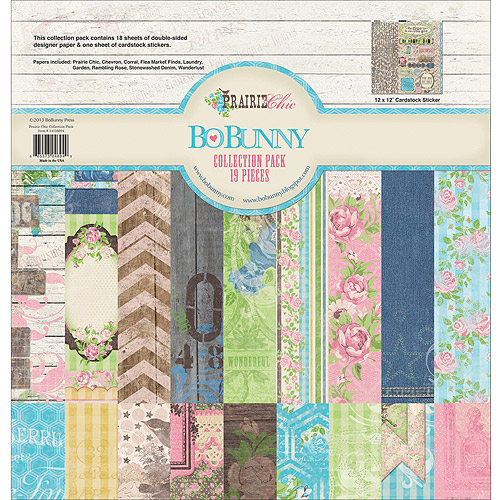 "Bo Bunny Prairie Chic Collection Pack, 12"" x 12"", 18 Double-Sided Papers"