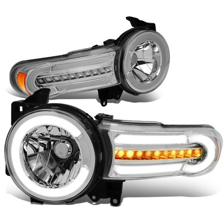 For 2007 to 2014 toyota FJ Cruiser Pair LED DRL+Sequential Turn Signal Front Bumper Headlight Corner Lamps Chrome / Amber 08 09 10 11 12