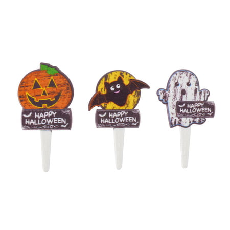 Chalk O Lantern Halloween Pumpkin Bats Ghosts Spooky -24pk Cupcake / Desert / Food Decoration Topper Picks with Favor Stickers & Sparkle Flakes](Spooky Halloween Food For Parties)