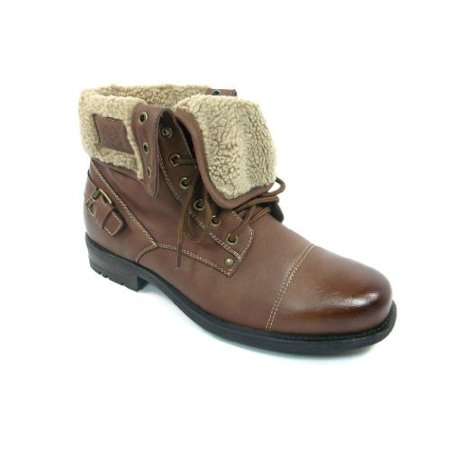 Polar Fox Mens 506015 Brown Faux Fur Lined Winter Boots (Fox Fur Winter Boots)