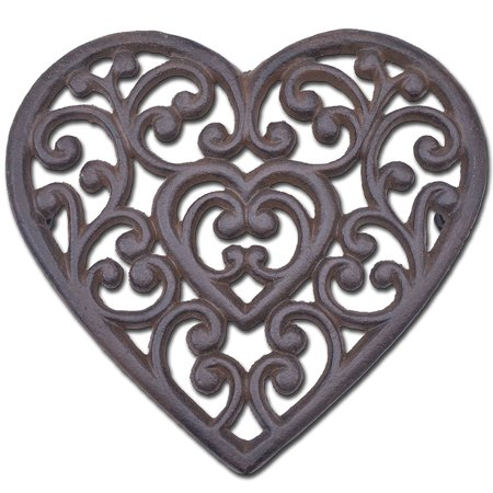 "Decorative Cast Iron Trivet Ornate Heart 8"" Wide, Heart Shaped Cast Iron Kitchen Trivet By Import Wholesales"