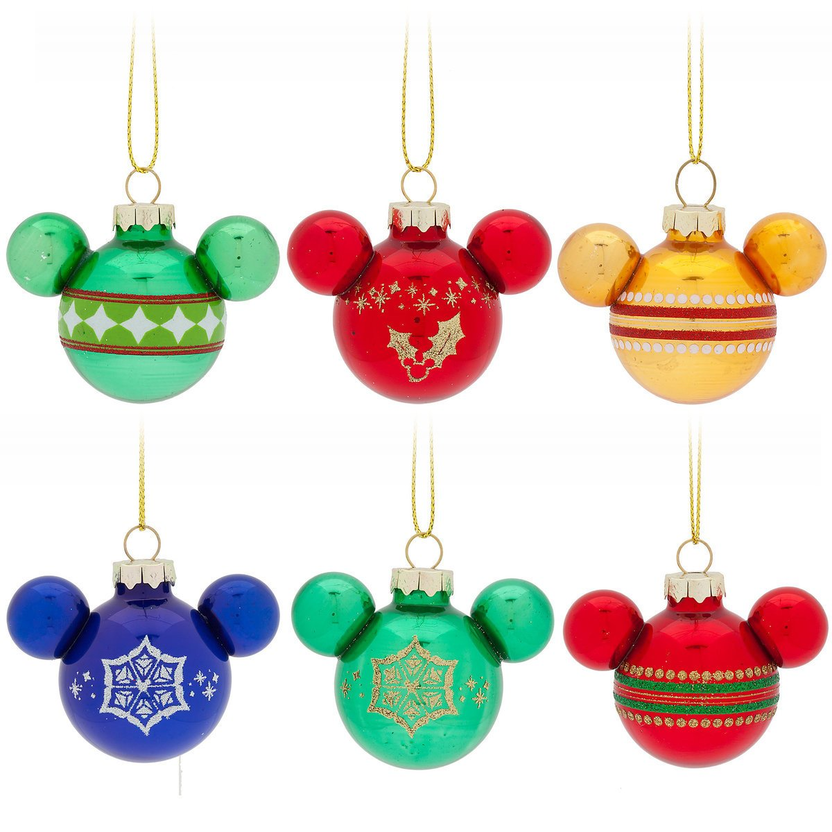 Disney Parks Mickey Mouse Icon Rainbow Ornament Set New with Box
