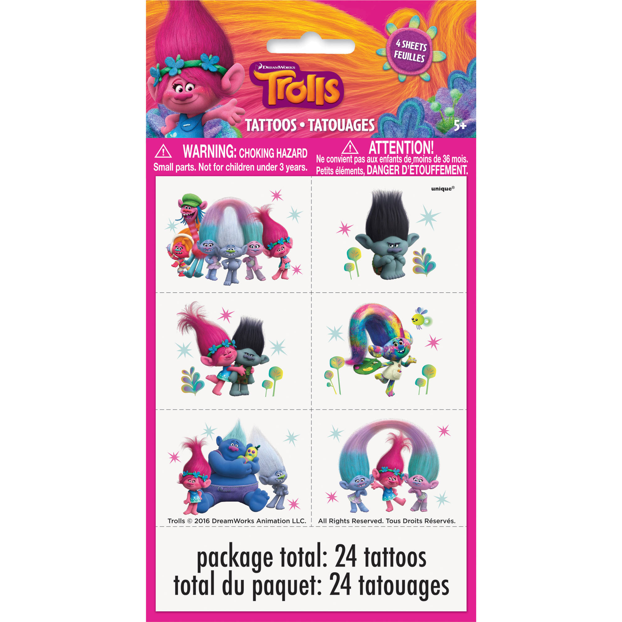 Trolls Tattoos, 24-Count
